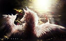 Lobo, asas, pintura de arte