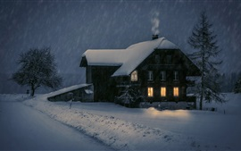 Preview wallpaper Wood house, lights, snow, winter, night