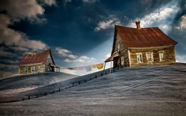Wood houses, slope, rope, clouds