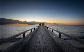 Preview wallpaper Wooden bridge, sea, clouds, dusk