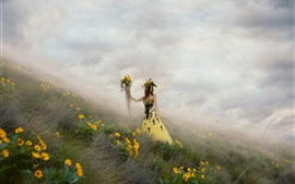 Preview wallpaper Yellow flowers, girl, elf, fog, art photography