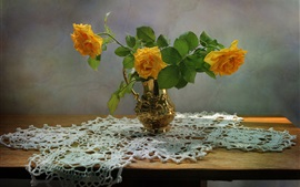 Preview wallpaper Yellow roses, vase, table