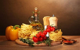 Preview wallpaper pasta, oil, tomatoes, pepper, food