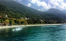 Abkhazia, Gagra, sea, beach, boats, mountains, forest