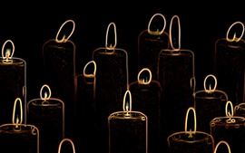 Preview wallpaper Abstract candles, flame, black background