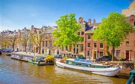 Амстердам, Нидерланды, лодки, река, город, дома