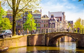 Preview wallpaper Amsterdam, Netherlands, bridge, river, buildings, people