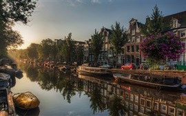 Amsterdam, Netherlands, river, boats, city, houses, trees, sun rays