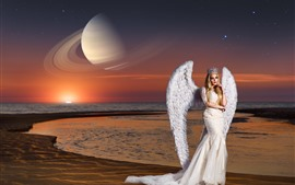 Preview wallpaper Angel girl, white wings, coast, sea, planet