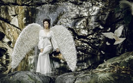 Preview wallpaper Angel girl, white wings, water, bird, art photography