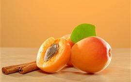 Aperçu fond d'écran Abricots, fruits, feuilles, cannelle