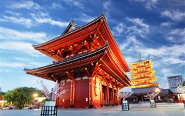 Preview wallpaper Asakusa Kannon Temple, evening, lights, blue sky, Tokyo, Japan
