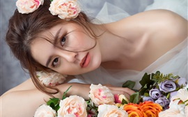 Preview wallpaper Asian girl, bride, roses