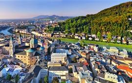 Áustria, salzburgo, cidade, casas, rio, ponte