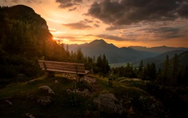 Preview wallpaper Austria, Tyrol, Reutte District, mountains, sunset, bench