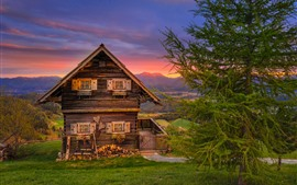 Áustria, montanhas, cabana, árvores, grama, pôr do sol