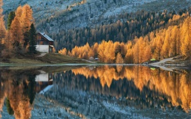 Preview wallpaper Autumn, forest, lake, mountains, houses