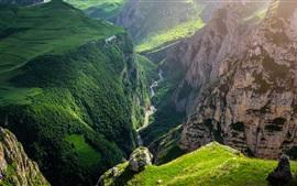 Azerbaijão, desfiladeiro, montanhas, rio, verde