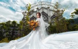 Preview wallpaper Beautiful bride, Asian girl, white skirt, church
