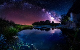 Beautiful night, pond, house, starry, sky, stars