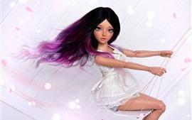 Aperçu fond d'écran Belle fille de poupée cheveux pourpre