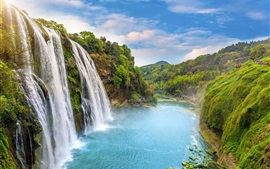Hermosa cascada, paisaje de naturaleza, río