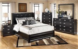 Спальня, мебель, окно, кровать, лампа