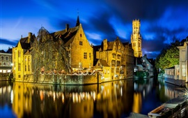 Belgium, Bruges, night, lights, river
