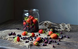 Preview wallpaper Berries, strawberry, blueberry, jar, still life