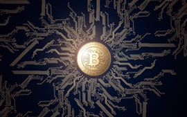Preview wallpaper Bitcoin, money, PCB, creative design