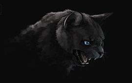 Черная кошка, рот, зубы, живопись