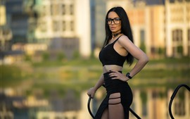 Black hair girl, glasses, pose