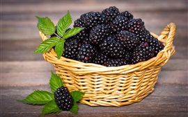 Preview wallpaper Blackberries, basket, mint