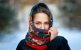 Preview wallpaper Blue eyes girl, scarf, snowy, winter