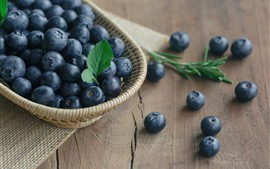 Preview wallpaper Blueberries, basket, table