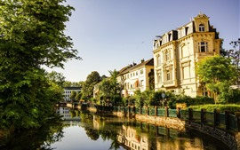 Preview wallpaper Bonn Botanical Garden, Germany, river, houses, trees