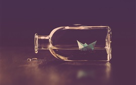 Preview wallpaper Bottle, paper boat, water