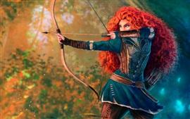 Vorschau des Hintergrundbilder Tapfer, Prinzessin, rotes Haar, Bogen, Disney-Zeichentrickfilm