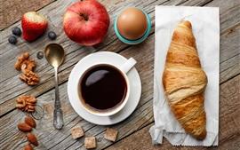 Завтрак, яблоки, кофе, круассан