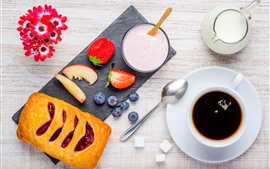 Breakfast, milk, bread, coffee, flowers, strawberry, blueberry