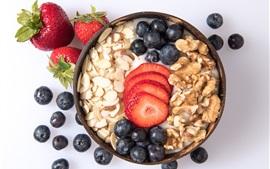 Breakfast, yogurt, oatmeal, nuts, strawberry, blueberry