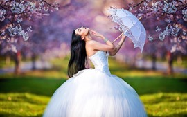 Novia, vestido de novia, niña, paraguas, pose