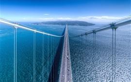 Bridge, blue sea, road, island