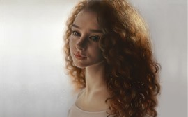 Preview wallpaper Brown hair girl, curls, face, portrait