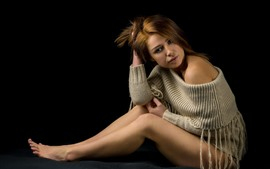 Preview wallpaper Brown hair girl, sweater, legs, pose