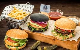 Preview wallpaper Burgers, cucumbers, ketchup, potatoes, fast food