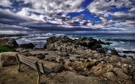 Preview wallpaper California, Asilomar Beach, sea, stones, bench, clouds, USA
