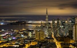 California, San Francisco, noche de la ciudad, edificios, luces