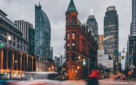 Canada, Ontario, Gooderham Building, city, street, dusk, lights
