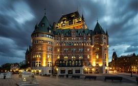 Канада, Квебек, город, ночь, здания, огни